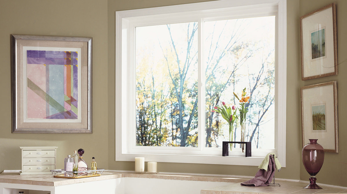 sliding window with lovely exterior view